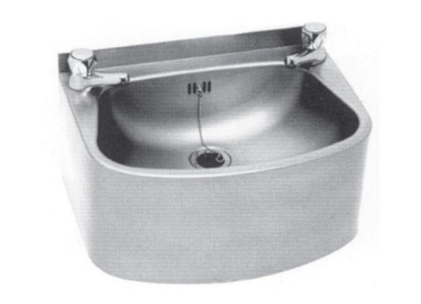SS/WP40 Curved Front Wash Basin With Two Tap Holes