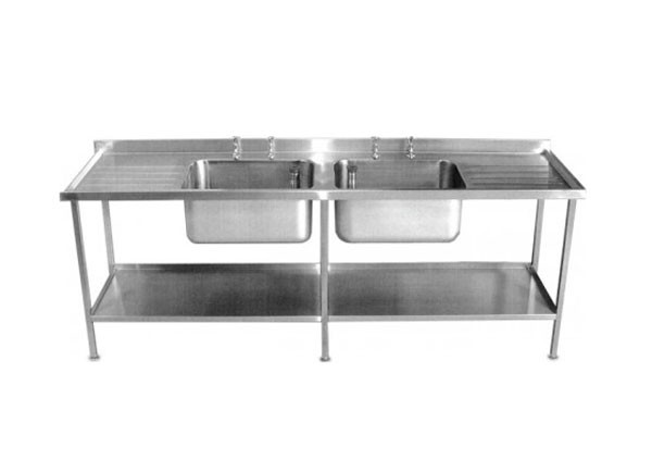 SS/2465/C Double Bowl And Double Drainer Unit Commercial Catering Sink