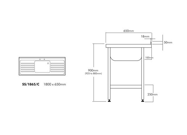 SS1860/C Single Bowl and Double Drainer Unit